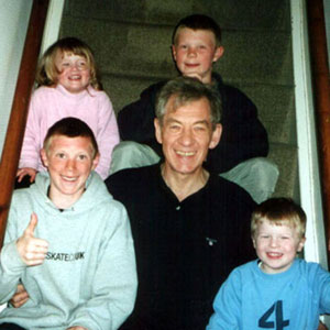 With Caitlin Jones, Andrew Blackman, Robert Blackman, and Curtis Jones (my sister Jeans grandchildren) at Christmas 2001