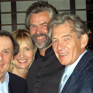 With Barry Humphries, Lizzie Spender, and Steve Thomson, Vancouver, October 2002