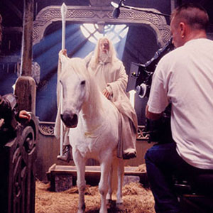 2000, THE LORD OF THE RINGS: THE TWO TOWERS: On the set on Shadowfax  - Photo by Pierre Vinet/New Line Productions