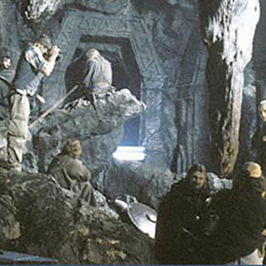 Director Peter Jackson and Cinematographer Andrew Lesnie set up a shot in the mines of Moria