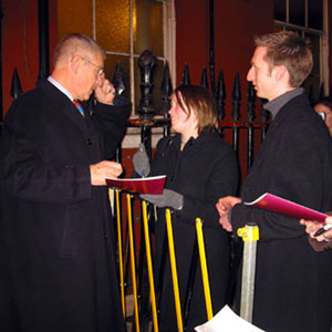 Signing autographs at the Lyric stage door