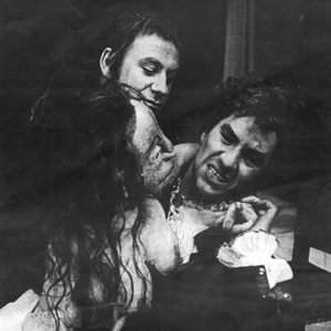 1974, DR FAUSTUS: Mephistophiles (Emrys James), Lechery (puppet)  and Faustus (Ian McKellen)  - Photo by Joe Cocks