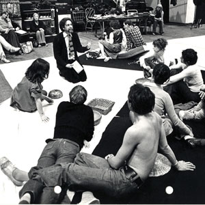 1976, THE WINTER'S TALE: Rehearsal with director John Barton: Michael Williams, ?, Cherie Lunghei, Cicily Berry, Leonard Preston John Barton, Greg Hicks, and from right: Roger Rhees, John Woodvine