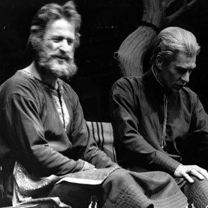 1976, THE WINTER'S TALE: Camillo (Bob Peck) and Leontes (Ian McKellen)