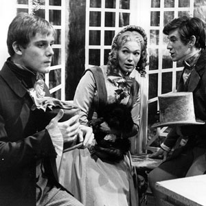 1966, DAVID COPPERFIELD (BBC-TV, 1966): Episode 7, Why doesnt he go away?: Traddles, Dora (Tina Packer) with Gyp and David (Ian McKellen)