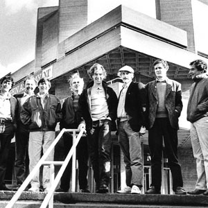 At The National Theatre (l to r): P W, B B, Peter Hall, M B, Peter Gill, Ian McKellen, Edward Petherbridge, D H, Richard Eyre