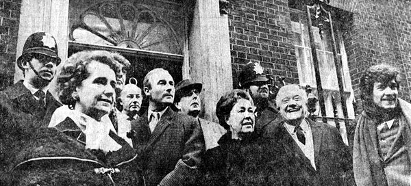 Delegation Day at No. 10: Members of Equity, the actors association, presented thousands of signatures in support of a letter written to the Prime Minister by members of the National Theatre in protest of the Industrial Relations Bill.  From left to right: Peggy Ashcroft, Derek Nimmo, Ernest Clark, Edward Woodward, Robert Morley, Peggy Mount, Andrew Cruikshank, Ian McKellen; 12 January 1971