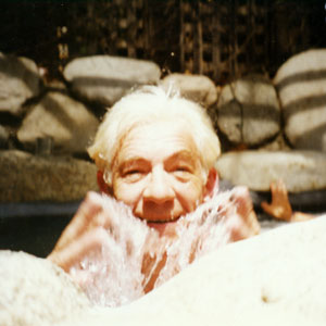 In the spa, Hillcrest Dr, Hollywood, with unidentified hand in background