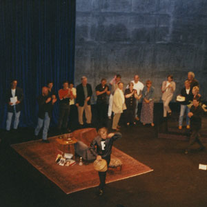 25 May 1997, Surprise birthday party onstage at LA Theatre Works following performance, including Terry Anderson, Tim Miller, Armistead Mapin, Kathy Bates, Jeff Burckhardt, Emma Thompson, Annette Bening, Sean Mathias, Ellen Degeneres, Anne Heche, Gregory Cooke