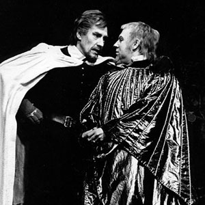 1975, KING JOHN: Philip the Bastard (Ian McKellen) and King John (Emrys Cooper)