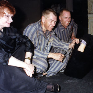 Thelma Holt, Ian McKellen, and Michael Cashman, post-performance, raising money to fight AIDS