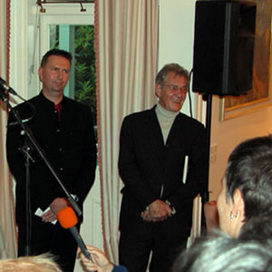 2003,   Chris Carter, New Zealand Minister of Conservation, Tim Barnett, Member of Parliament for Christchurch, and Ian McKellen at Premier House reception honouring Sir Ian, 28 November 2003  - Photo by Keith Stern