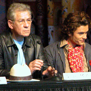 Press conference at Te Papa museum, Wellington NZ: Ian McKellen, Orlando Bloom
