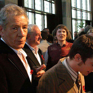 Ian McKellen, Bernard Hill, P.M. Helen Clark, Elijah Wood at Parliament reception