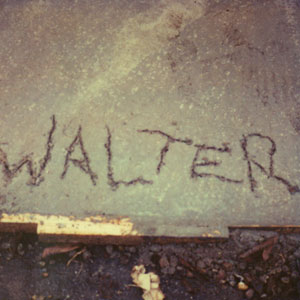 Walters name scratched into wet cement (Polaroid)