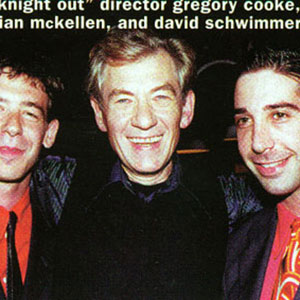 1997, A KNIGHT OUT IN LOS ANGELES: Birthday party backstage: Gregory Cooke, Ian McKellen, David Schwimmer  - Photo by Venice Magazine