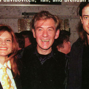 1997, A KNIGHT OUT IN LOS ANGELES: Birthday party backstage: Lolita Davidovich, Ian McKellen, Brendan Fraser  - Photo by Venice Magazine
