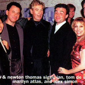 1997, A KNIGHT OUT IN LOS ANGELES: Birthday party backstage: Lisa and Newton Thomas Siegel, Ian McKellen, Tom De Santo, Marilyn Axis, Alex Simon  - Photo by Venice Magazine