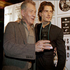 2003,   Ian McKellen and Orlando Bloom meet the press after the BIFA ceremonies