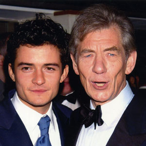 2002, THE LORD OF THE RINGS: THE FELLOWSHIP OF THE RING: Orlando Bloom and Ian McKellen arriving at BAFTA awards.  Sir Ians wardrobe by <a href=http://www.johnvarvatos.com target =_blank>John Varvatos</a>.