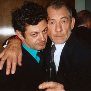 Andy Serkis and Ian McKellen, celebrating Oscar wins at Mortons, 1am 1 March 2004.