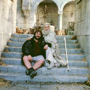 2003, THE LORD OF THE RINGS: RETURN OF THE KING: Peter Jackson and Ian McKellen in Minas Tirith  - Photo by Pierre Vinet/NLC Productions