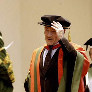 2004,   Lord Bragg presents the honorary doctorate to Sir Ian McKellen  - Photo by Richard Moran