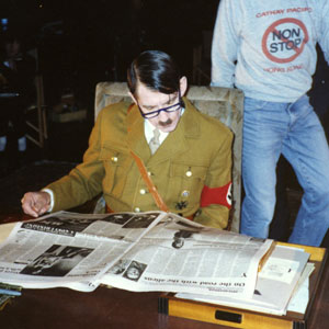 In between takes, Hitler (Ian McKellen) reads the British newspapers