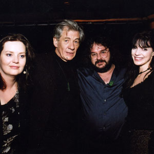 2002, THE LORD OF THE RINGS: THE FELLOWSHIP OF THE RING: Phillipa Boyens, Ian McKellen, Peter Jackson and Frances Walsh at Ed Limatos pre-Oscar party