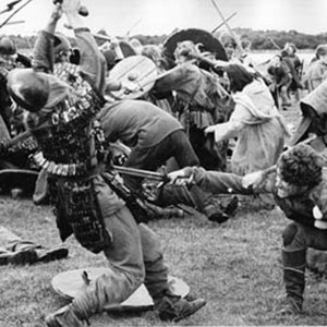 1968, ALFRED THE GREAT: Roger the Bandit killing <BR><BR><em>Above his out-stretched arm is Colin Blakeley, my favourite stage-actor of the period whom I had known in Olivier's National Theatre Company at the Old Vic Theatre.</em>