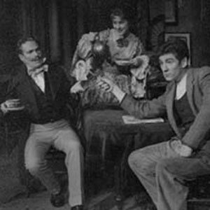 1962, CASTE: Caste, pre-cursor of kitchen-sink drama, was the first play in which a real cup of tea was brewed onstage. L to R: Jonathan Meddings, Josie Kidd, Ian McKellen
