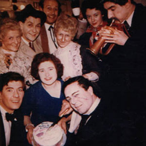 1963, ARSENIC AND OLD LACE: Backstage party: Surrounding a local fan holding a cake, clockwise from lower left: Ian McKellen, Doreen Andrews, Stephen MacDonald, Roger Hammond, Josie Kidd, Roberta Maxwell, Gawn Grainger, Brendan Barry