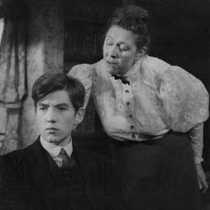 1963, THE CORN IS GREEN: Something for a future nation to be proud of.  Act 3. Morgan Evans (Ian McKellen) and Miss Moffat (Peggy Mount.)