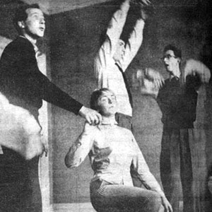 1959, LOVE'S LABOURS: Dig it! rehearsal: Richard Cottrell, Elizabeth Proud, Ian McKellen and Michael Burrell