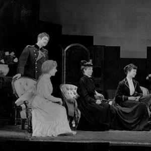 1959, THE THREE SISTERS (Cambridge): Life will be beautiful -- Act 1. L to R: Tuzenbach (Ian McKellen),  Irina, Masha (Margaret Drabble), Olga, Soliony (David Rowe-Beddoe), Vershinin (John Arnott)