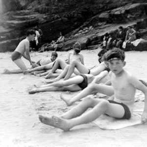 On the beach at Temby, South Wales: Bolton School camp at Saundersfoot