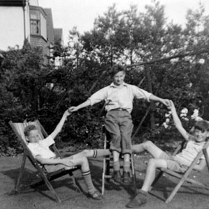 Garden of 34 Barrow Bridge Road, circa 1953. L to R: Duncan Sculthorpe, David Hargreaves, Ian McKellen