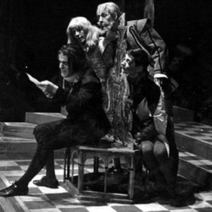 1960, TWELFTH NIGHT (Cambridge): Let me see thee a steward, still. Act II Scene 5. Malvolio (Julian Curry), Aguecheek (Michael Burrell), Belch (Ian McKellen), Fabian (Anthony Arlidge)