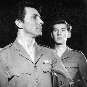 1961, END OF CONFLICT: Lt. Brash (Mark Eden) and 2nd Lt. Mason (Ian McKellen)