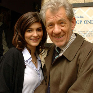 With Audrey Tautou (Sophie Neveu) on location at Lincoln Cathedral, August 2005