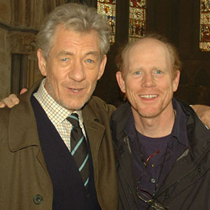 With Director Ron Howard on location at Lincoln Cathedral, August 2005