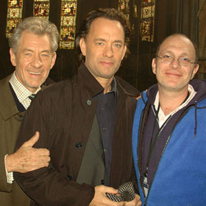 With Tom Hanks (Robert Langdon) and screenwriter Akiva Goldsman on location at Lincoln Cathedral, August 2005