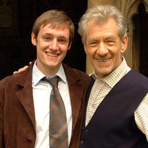Matt Butler (D.C. Watts) and Ian McKellen (Teabing) on location at Lincoln Cathedral