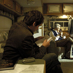 Matt Butler, a friend who is playing a plainclothes detective in The Da Vinci Code, gallantly hearing me learn my lines in my trailer, Shepperton Studios, August 2005