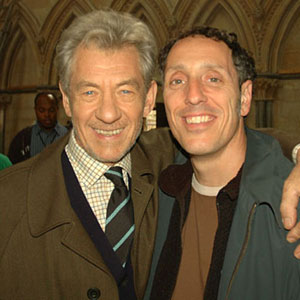 With cinematographer Salvatore Totino on location at Lincoln Cathedral, August 2005