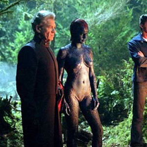 2005, X-MEN: THE LAST STAND: Mageneto (Ian McKellen), Mystique (Rebecca Romijn), Wolverine (Hugh Jackman) and Storm (Halle Berry) in the woods.