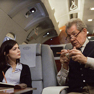 Sophie (Audrey Tautou) and Teabing (Ian McKellen) on his jet