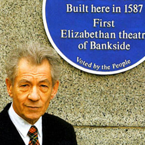 12 January 2006: Sir Ian unveils a Southwark Council Blue Plaque at the site of the historic Rose Theatre.  It�s with enoromous enthusiasm that I support the people of Southwarks desire that strangers visiting the borough can come and appreciate this precious jewel in our midst.