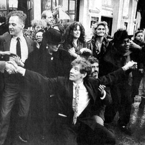 25 January 1988<br>The Arts Lobby<br>Melvyn Bragg, Michael Cashman, Ian McKellen, Eleanor Bron, Terry Jones, Sheila Hancock, Lenny Henry and others outside The Playhouse