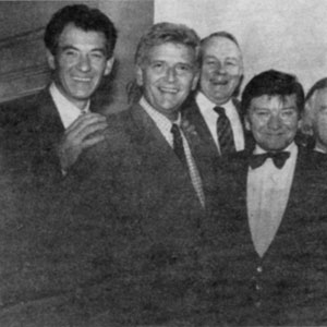 18 December 1988<br>Ian McKellen, David Kernan, Ned Sherrin, Keith Waterhouse, Judi Dench, Alan Bates, and Michael Williams at The Playhouse in support of Crusaid